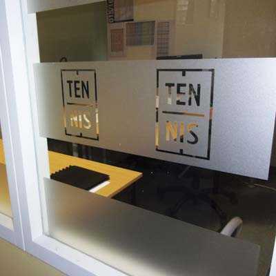 Habillage vitres bureaux depoli